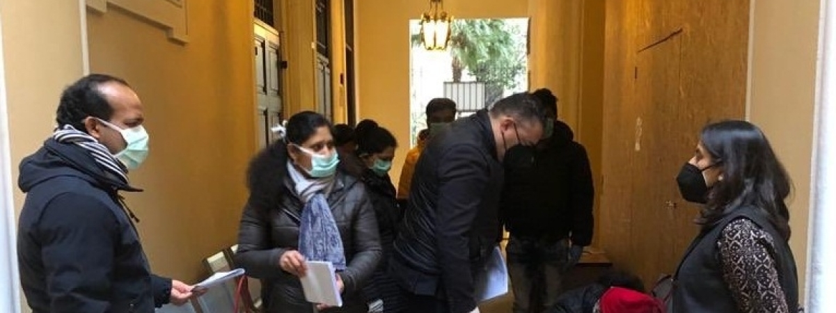 Indian students and families coming in for testing for COVID-19 at the Indian Embassy in Rome, Italy.