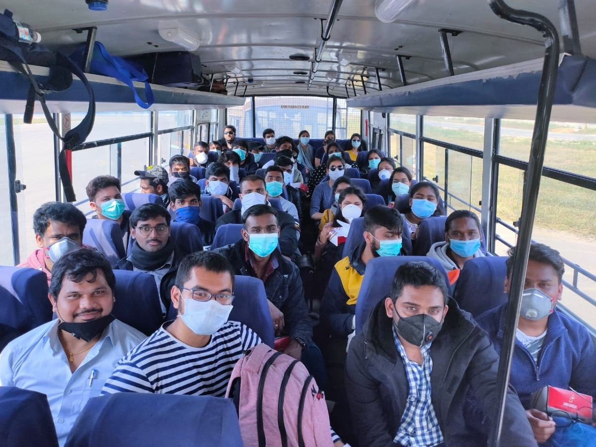 Indians evacuated from Rome, Italy, being taken to the ITBP Quarantine Facility at Chhawla in New Delhi from the Indira Gandhi International Airport in ITBP Buses, amid COVID-19 pandemic, on March 22, 2020.