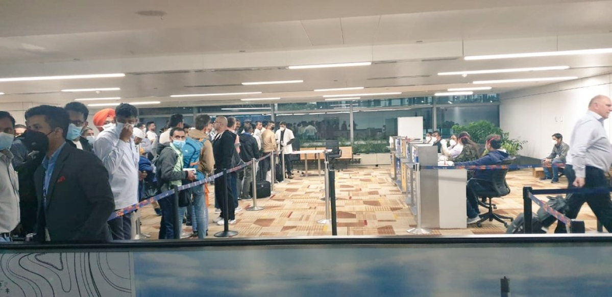 Passengers being screened at the Indira Gandhi International Airport in New Delhi as part of efforts to contain the spread of coronavirus, on March 8, 2020.
