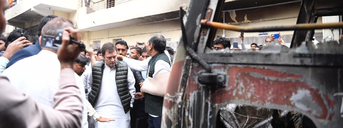 Congress leader Rahul Gandhi visiting violence-hit areas of Northeast Delhi on March 4, 2020.