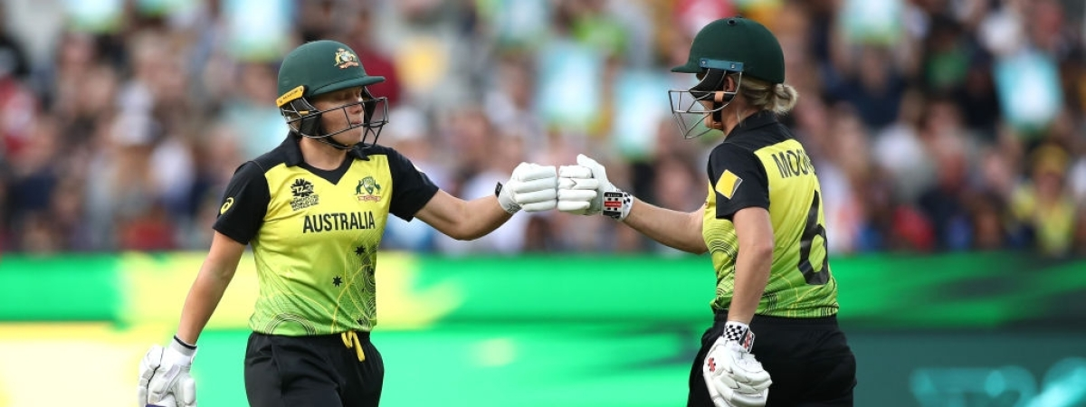 Australia's Alyssa Healy and Beth Mooney during the Women's T20 World Cup final between India and Australia at Melbourne Cricket Ground (MCG) in Melbourne, Australia on March 8, 2020.