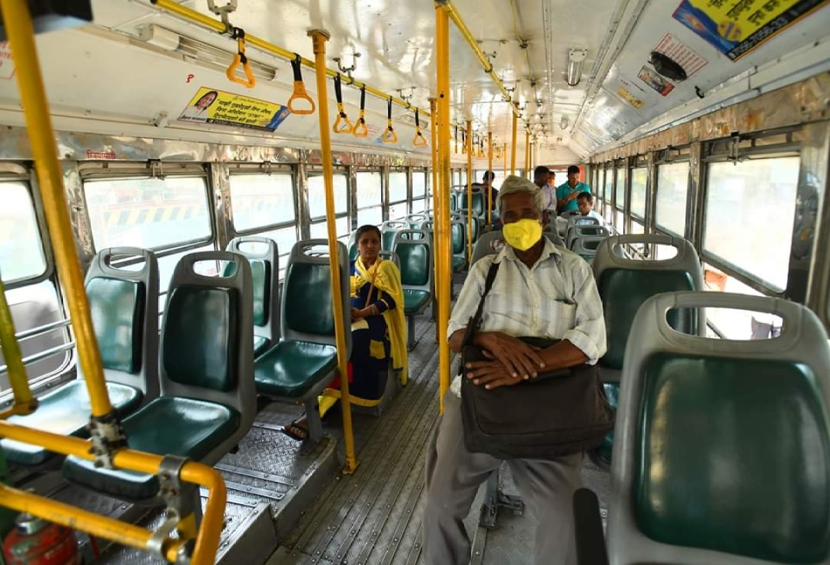 Very few commuters seen in a usually  packed BEST bus in Mumbai, due to fears about the coronavirus, on March 19, 2020.