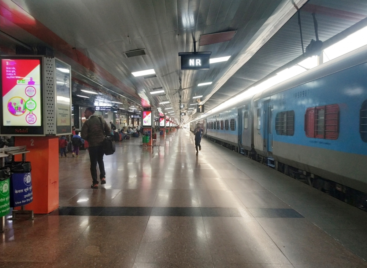 The New Delhi Railway Station bears a deserted look amid restrictions imposed in the wake of increasing cases of coronavirus, on March 21, 2020.