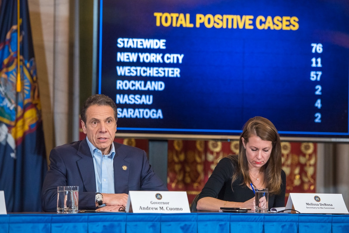 New York Governor Andrew Cuomo announcing a state of emergency to contain the spread of coronavirus in the state, in New York on March 7, 2020