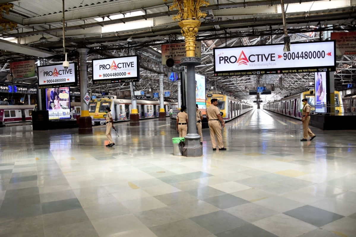The usually crowded Chhatrapati Shivaji Maharaj Terminus Central Railway Station wears a deserted look during the 'Janata Curfew' in the wake of increasing cases of COVID-19, in Mumbai on March 22,2020.