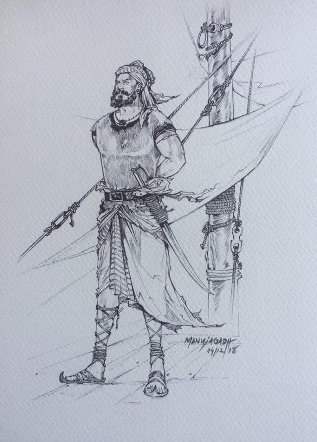മനു ജഗദ് വരച്ച കുഞ്ഞാലിമരയ്ക്കാര് ചിത്രം