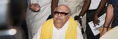 Setback in Karunanidhi's  health: Wife Dhayalu Ammal visits hospital