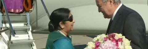 Sushma arrives Tashkent: To meet Indian community, pay homage to Shastri