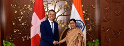 Sushma reviews bilateral issues with Swiss counterpart