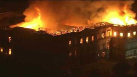 Brazil national museum in flames