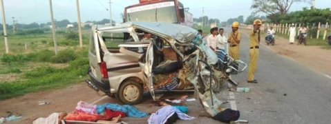 Four killed as car collides with lorry