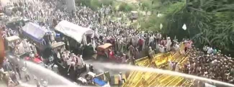 Farmers protest turns violent; Police use tear Gas, water Cannons