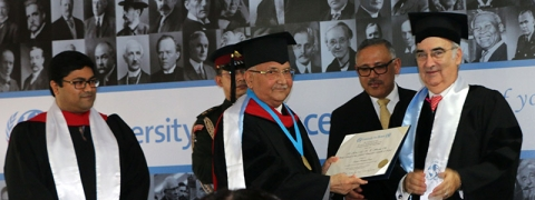 UN University for Peace confers doctorate on Nepal PM