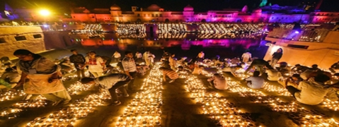 UP govt create Guinness record by lighting over three lakh diyas during Deepostava