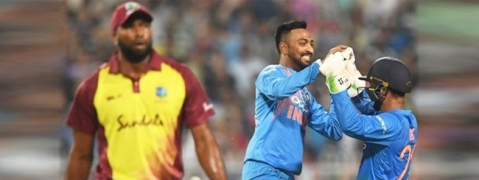 Dinesh Karthik and Krunal Pandya guide India to 5 wicket victory against West Indies at Eden