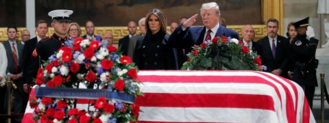 Bush funeral: Trump pays respects at US Capitol