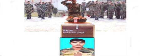 Army pays tribute to soldier killed in Pak firing at LoC in Kupwara