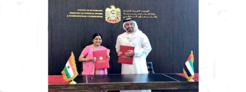 Sushma holds parleys with UAE counterpart, both sides ink pacts