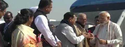 Modi arrives in Gujarat for three-day visit