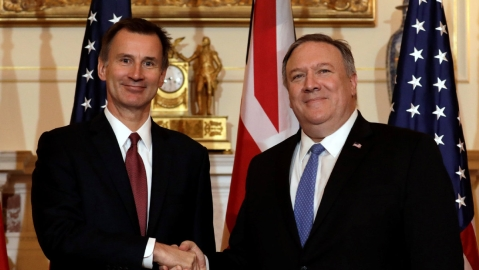 Pompeo meets with British FM on ties, global issues