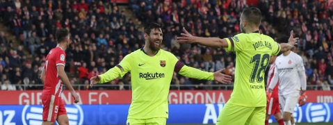 Barca win in Girona to remain 5 points clear in Spain