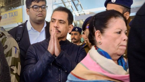 Robert Vadra, mother appear before ED at Jaipur