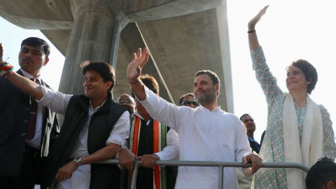 Bro-sister duo toe Rafale line:Priyanka,Rahul hold jet cut-outs during Lucknow roadshows