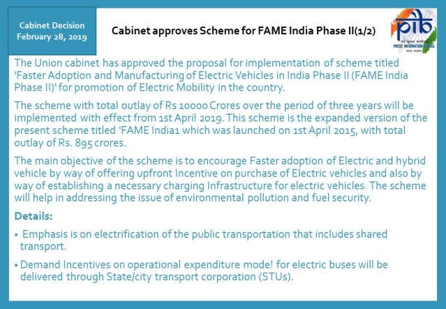 Cabinet approves scheme for FAME India Phase II
