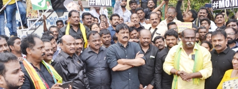 Protest demos held against PM's visit to AP