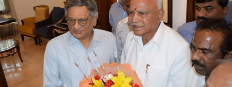 Yeddyurappa calls on BJP senior leader S M Krishna