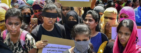 Students on agitation over the Pollachi sexual assault issue