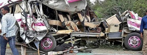 Five killed, 9 injured as mini bus collides with lorry in AP