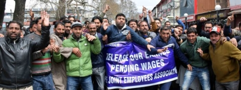 PHE daily-wagers lockdown offices in Kashmir, demand release of pending wages