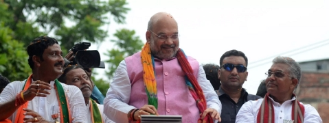 Amit Shah road show in Kolkata began with chanting of Jai Sree Ram and Bharat Mata Ki Jai