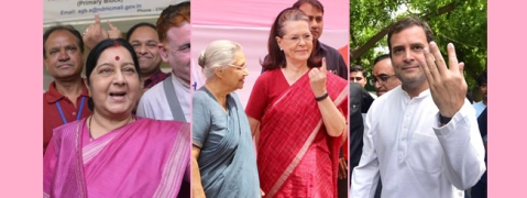 Sushma, Sonia exercise their adult franchise in New Delhi