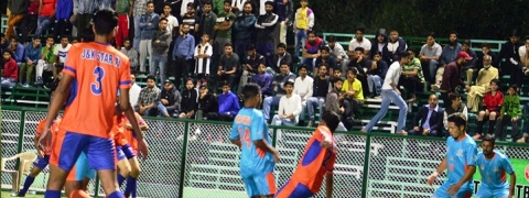 First ever football match played under floodlights at Srinagar's AstroTurf ground