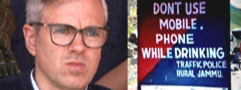Omar takes jibe at 'don't use phone while drinking' signboard of Police on Mughal road