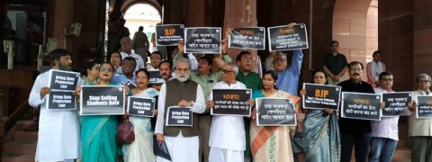 Trinamool Congress MPs stage protest demanding Data Protection Law