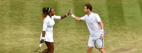 Williams, Murray win mixed doubles opener at Wimbledon