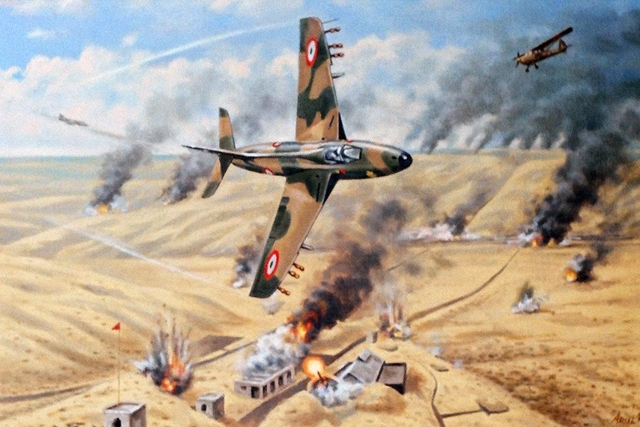 IAF Hunters, Guided by Propeller driven 'Krishak' of Artillery Air OP, fly over Longewal Post, under heavy enemy fire