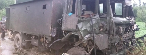 Security force vehicle damaged in IED blast in Pulwama