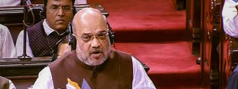 Shah's entry to LS marked by 'Jai Shri Ram' slogans and thumping of desks