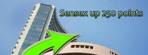 Sensex goes up over 250 points