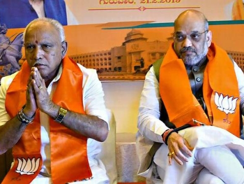 Day after bypoll announcement, Yediyurappa meets Amit Shah for flood relief fund