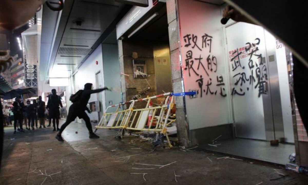 Hong Kong train services suspended