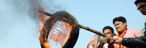 BJP Mahila Morcha protest over police inaction against ex-councilor