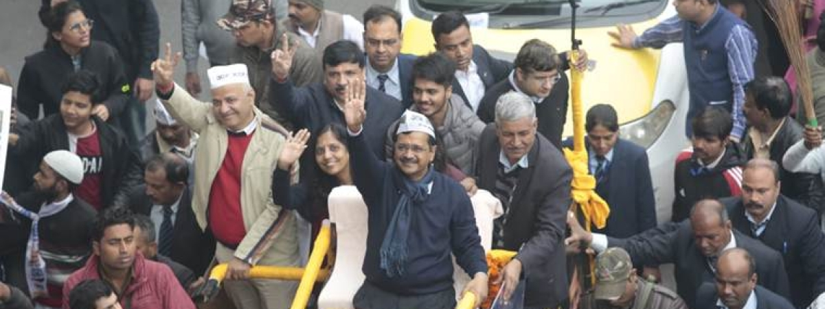 Delhi polls: Kejriwal's roadshow for filing nomination begins