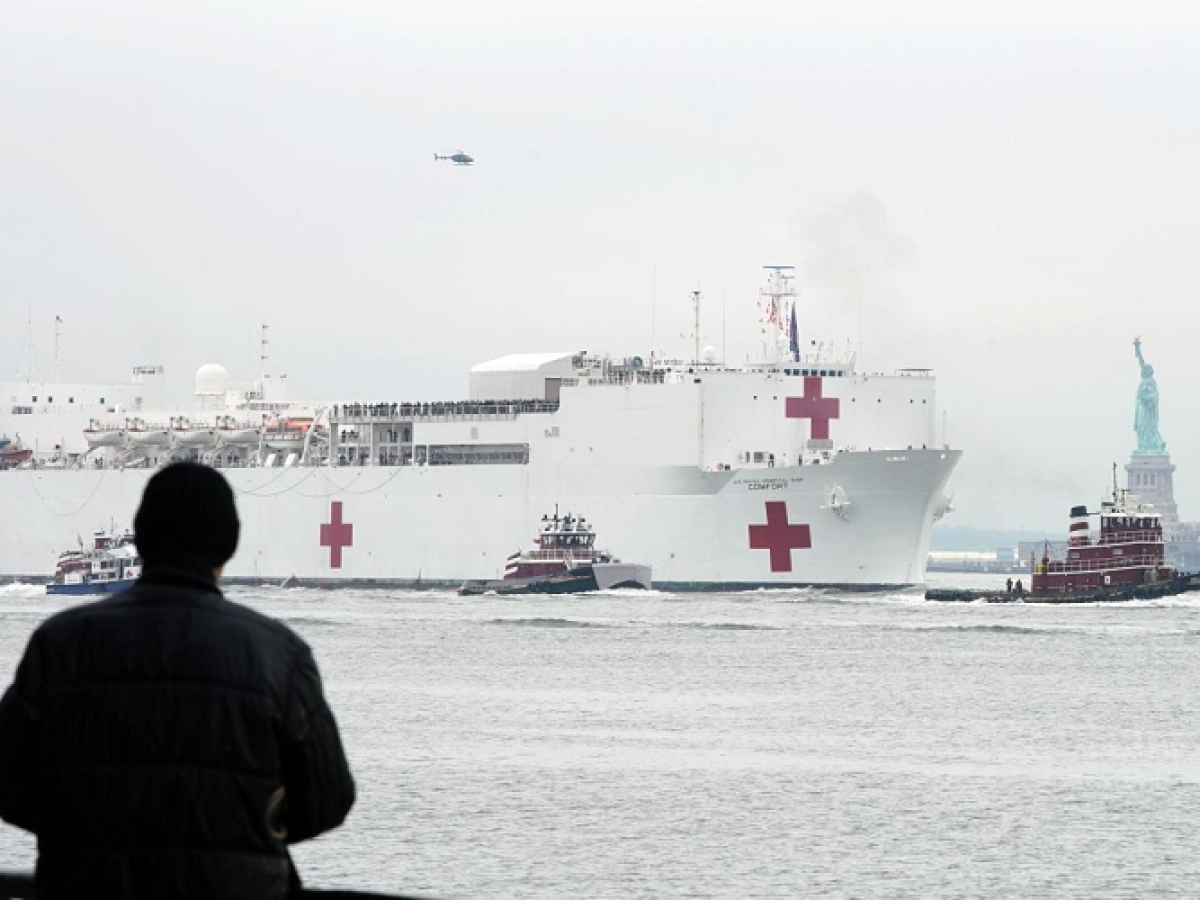 Military hospital ship arrives in New York