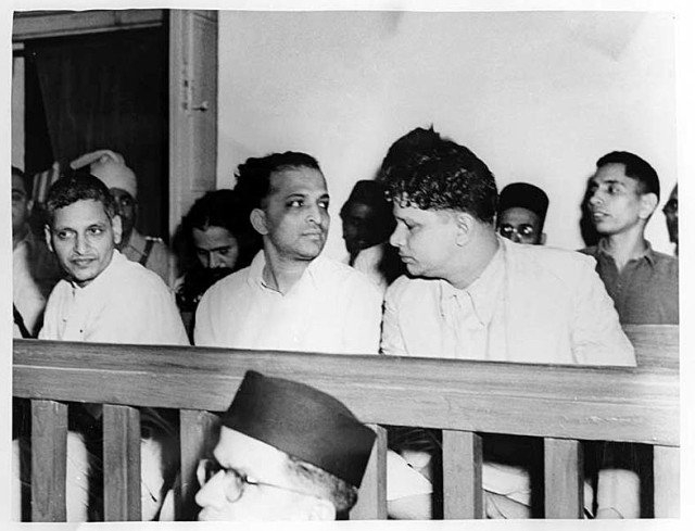 Nathuram Godse, Narayan Apte and others during the Gandhi murder trial