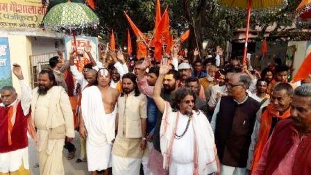 کارسیوک پورم سے نکلنے والی رام راجیہ رتھ یاترا کا منظر